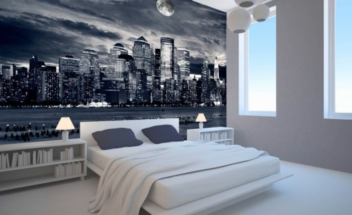 chambre-a-coucher-idee-stickers-muraux-poster-mural-trompe-l-oeil-dans-la-chambre-à-coucher
