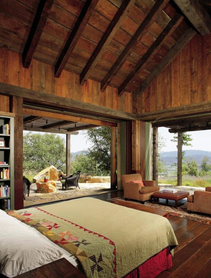 chambre-parentale-avec-belle-vue-idéе-déco-suite-parentale-en-bois-massif-fenetre-grande