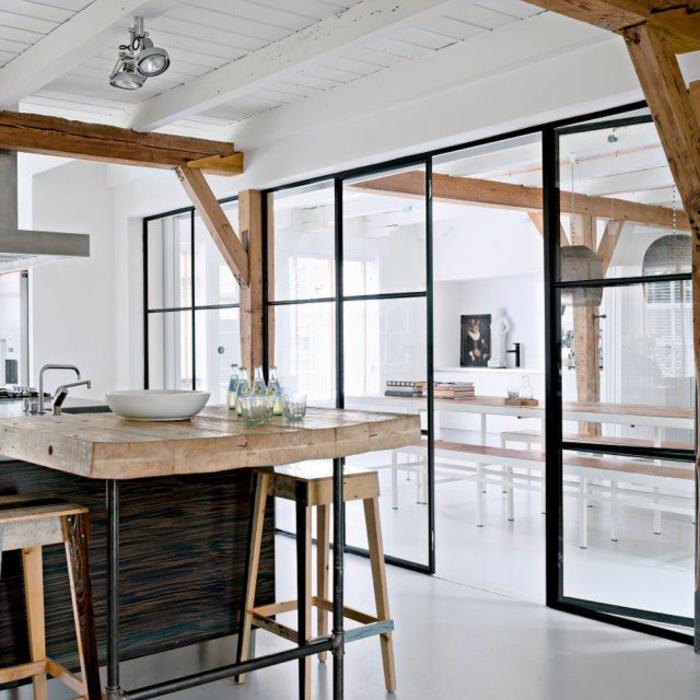 cloison-amovible-pas-cher-pour-séparer-la-cuisine-de-la-salle-de-séjour-sol-en-lino-gris