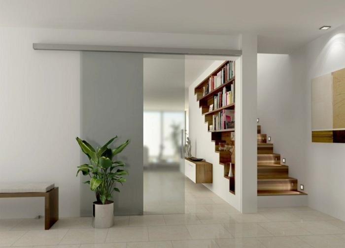 cloison-amovible-pas-cher-pour-séparer-les-chambres-chez-vous-carrelage-gris-porte-coulissante-mur-avec-livres