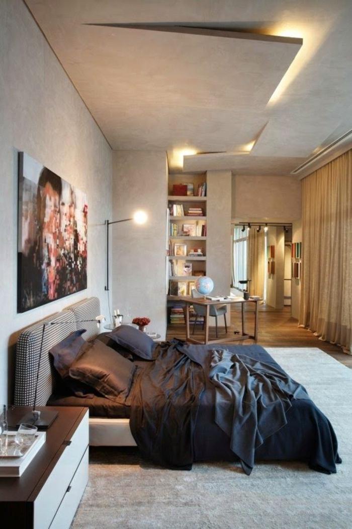 coment-faire-un-faux-plafond-jolie-variante-pour-la-chambre-à-coucher-couleur-taupe