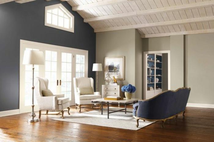 comment-décorer-sa-chambre-sous-pente-mur-gris-parquette-en-bois-mur-gris-fenetre-grande