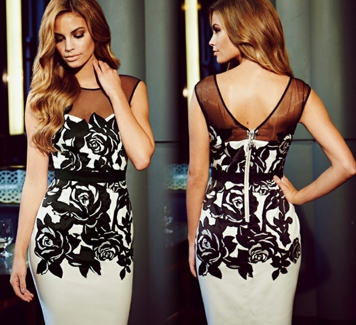 comment-s-habiller-pour-occasion-formel-journée-robe-blanche-et-noire-fleurs-dentelle