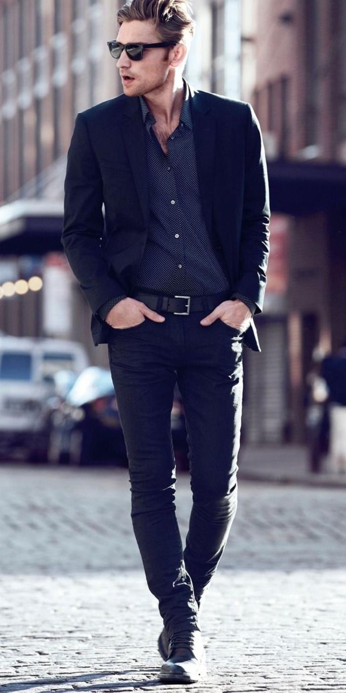 coupe-de-cheveux-tendances-pour-2015-homme-avec-lunettes-de-soleil-noir-chemise-à-points-pantalon-noir