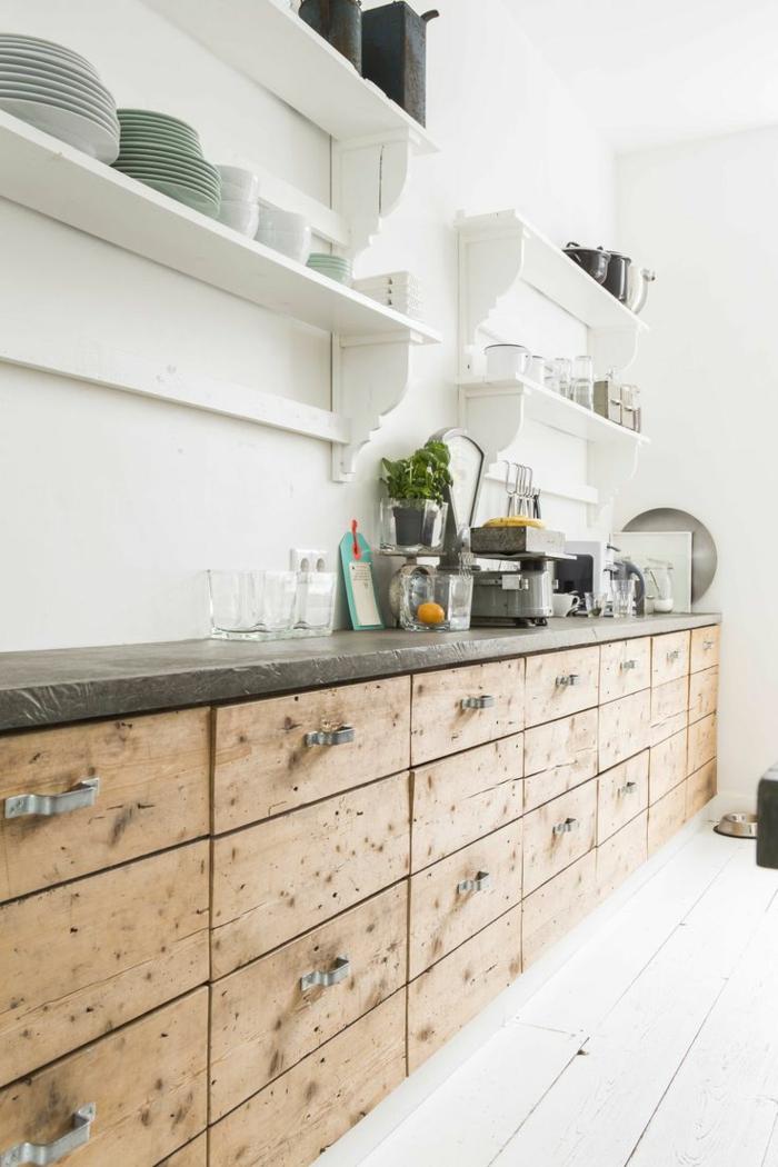 crédence-de-cuisine-crédence-castorama-ikea-credence-mur-blanc-dans-la-cuisine-rustique