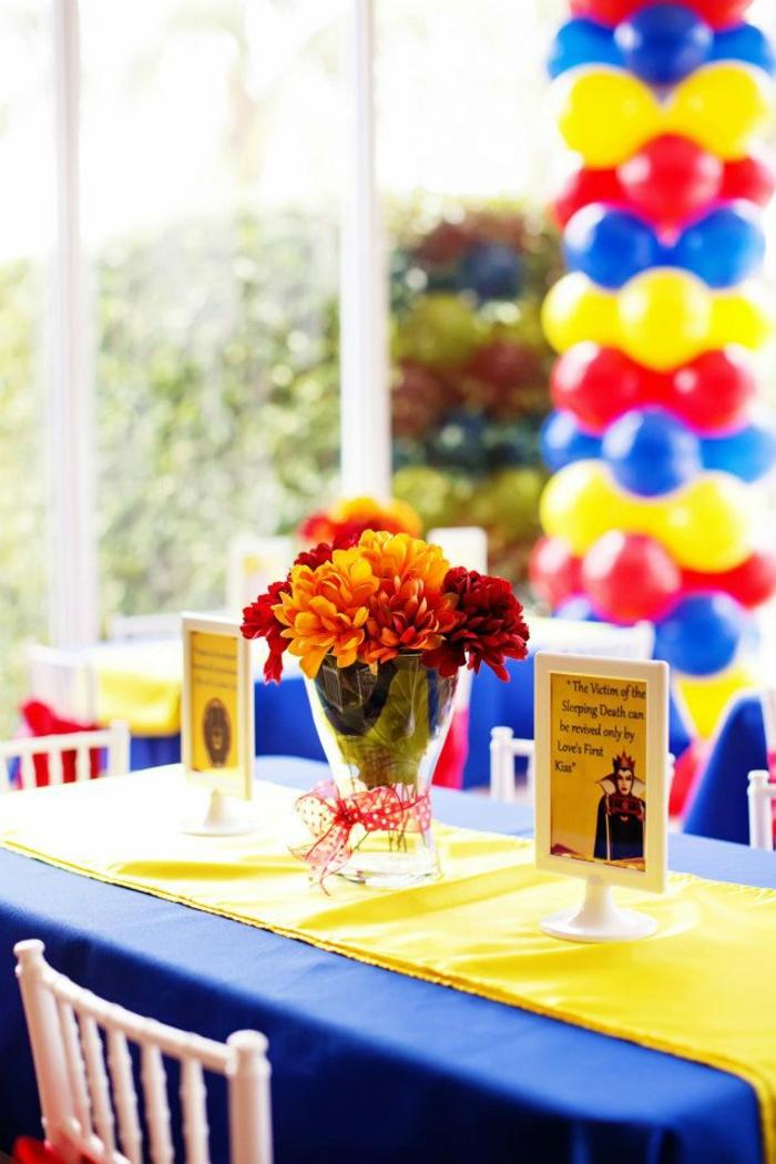 déco-gateau-anniversaire-enfant-Disney-snow-white-conte-de-fée-belle-déco-bleu-et-jaune