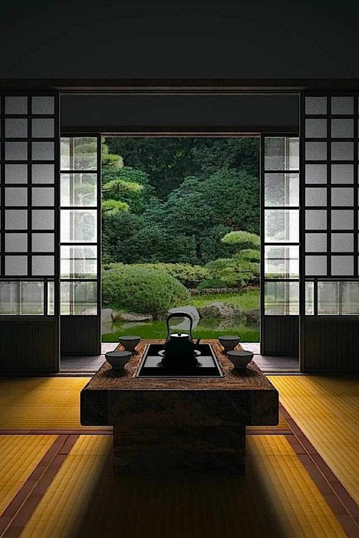 décoration-japonaise-style-japonaise-chambre-japonaise-meubles-basse-jardin-pelouse