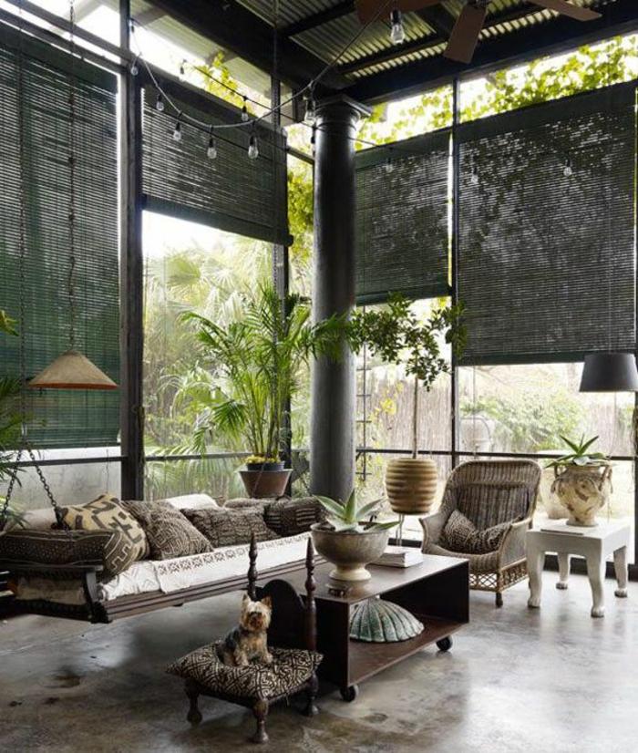 décoration-japonaise-style-japonaise-chambre-japonaise-salon-moderne-plantes-vertes-chien-meubles-chinoises