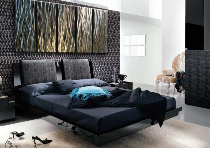 décoration-murale-en-métal-chambre-à-coucher-glamoureuse