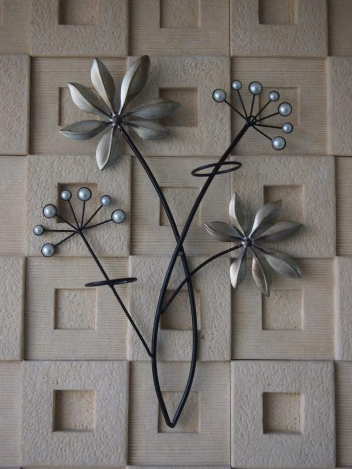 dcoration murale en mtal fleur mtallique pour le - Decoration Pour Les Murs
