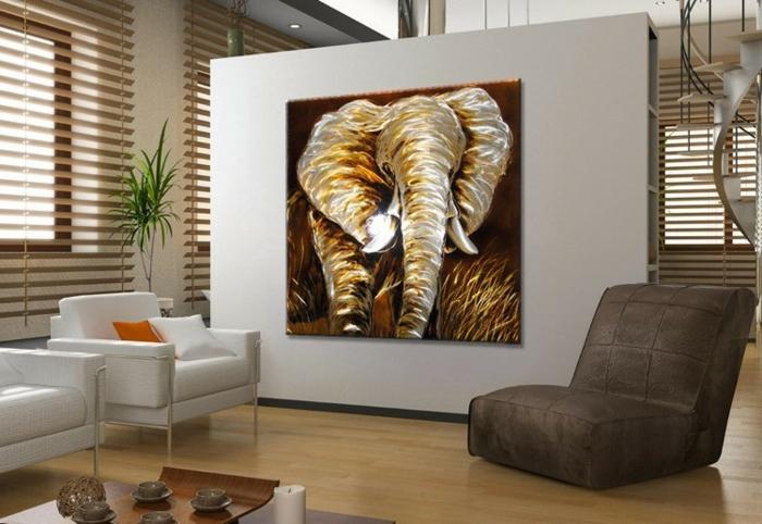 décoration-murale-en-métal-peinture-éléphant