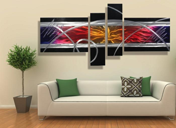 décoration-murale-en-métal-peinture-sculpture-abstraite
