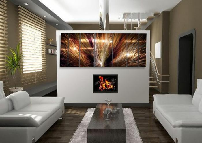 décoration-murale-en-métal-petite-salle-de-séjour