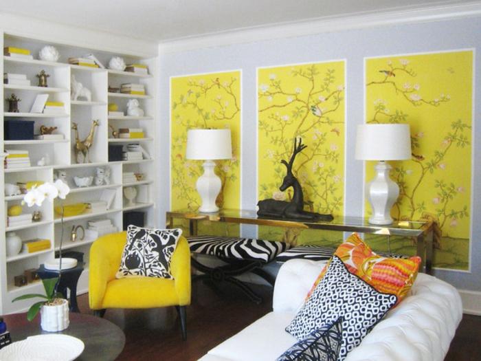 décorer-les-murs-comment-décorer-sa-chambre-décoration-salle-de-séjour-canapé-blanc-murs-jaunes