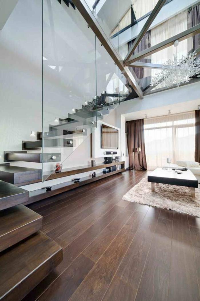 escalier-en-bois-foncé-dans-la-salle-de-séjour-escalier-en-bois-massif-intérieur-idée