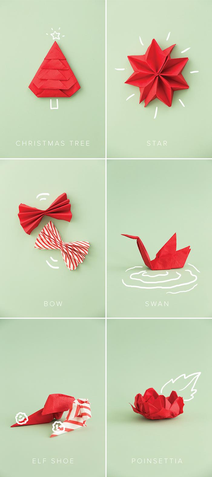 idee pliage de serviette facile de noel, exemple plier serviette de papier rouge en forme sapin de noel, étoie, noeud de papillon, grue, fleur, chaussure d elf