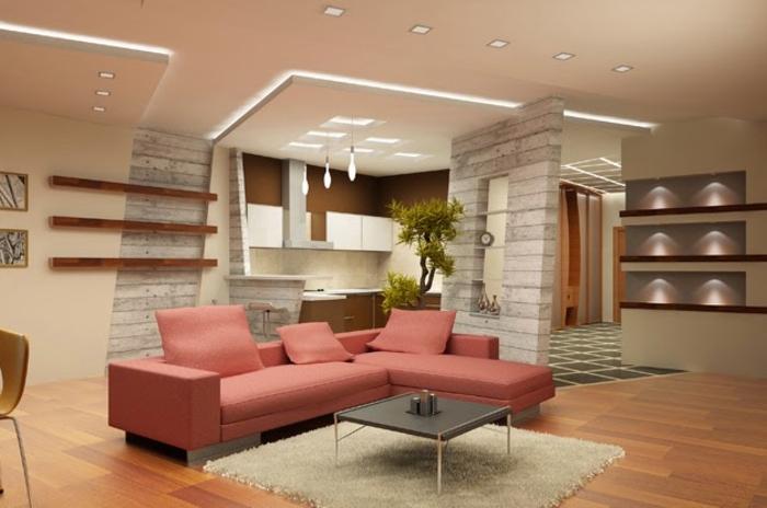 faire-un-faux-plafond-dans-la-salle-de-séJour-tapis-beige-table-de-salon-basse-canapé-rose