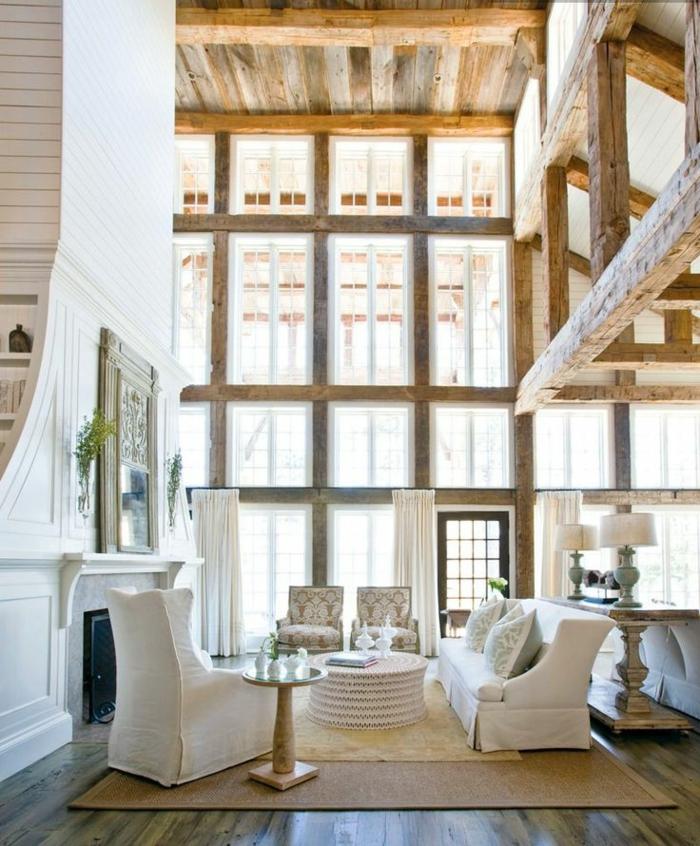 fauteuil-blanc-intérieur loft-salon-intéressant