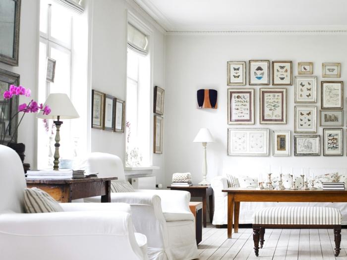 fauteuil-blanc-fauteuils-grands-console-en-bois-déco-murale