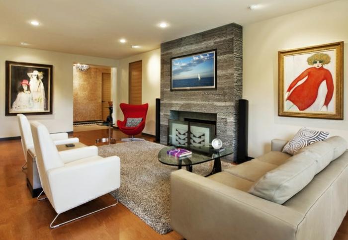 fauteuil-blanc-style-contemporain-d'aménagement-salle-de-séjour
