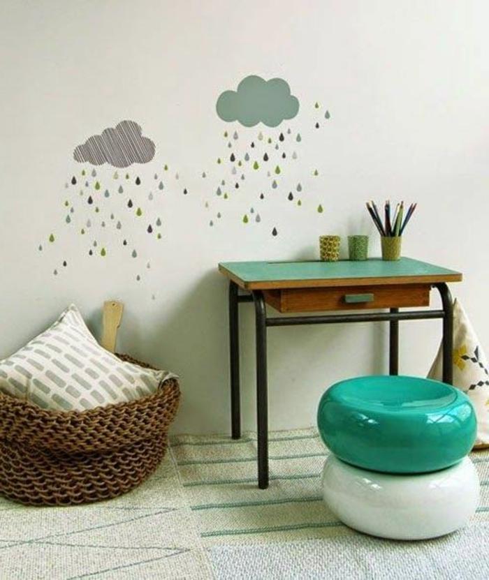 fauteuil-bureau-ergonomique-chaise-d-enfant-en-plastique-blanc-et-bleu-décoration-murale