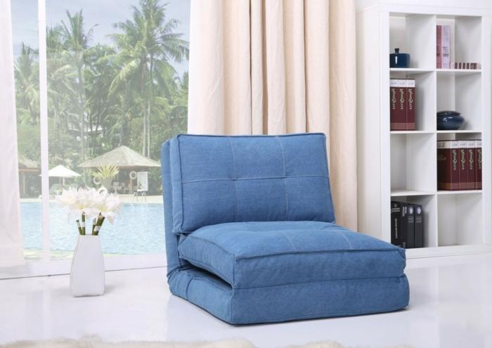 fauteuil-convertible-lit-1-place-ikea-idée-pièce-petite-canapé-bleue-une-place