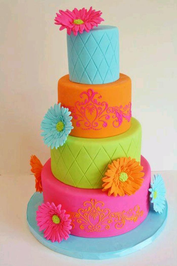 gâteaux-anniversaire-fille-gateau-anniversaire-1-an-fille-idée-déco-gâteau-coloré