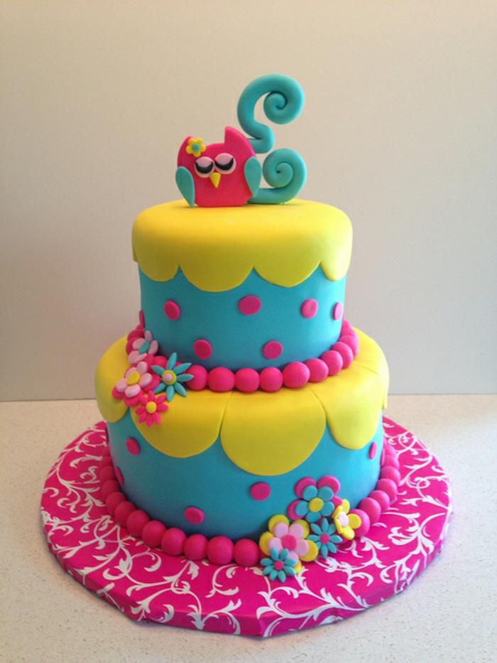 gateau-anniversaire-fille-déco-anniversaire-enfants-gateau-anniversaire-1-an-2-3-4-5-ans-coloré