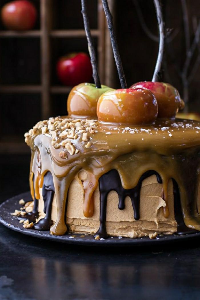 gateau-d-anniversaire-pour-fille-gateau-anniversaire-original-fille-déco-caramel-et-pommes
