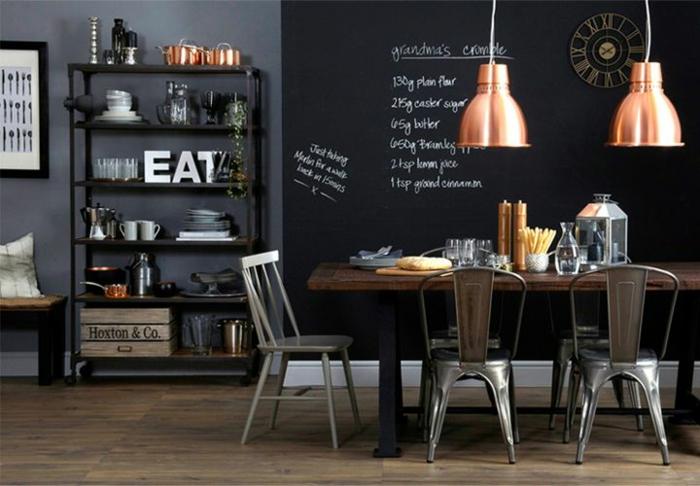 Peinture de cuisine deco cuisine mur noir and peinture - Peinture tableau ardoise ...