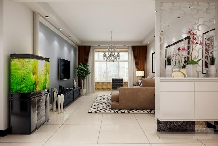idée-originale-séparation-pièce-meuble-séparateur-de-pièce-ikea-aquarium-salon