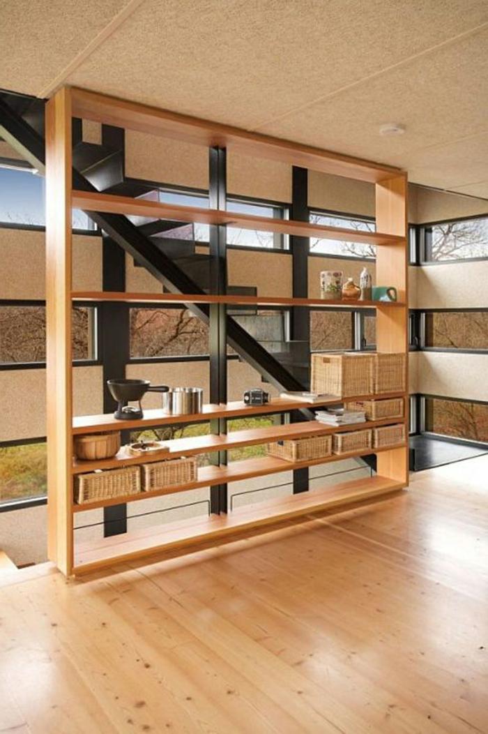 idée-originale-séparation-pièce-meuble-séparateur-de-pièce-ikea-deux-etages
