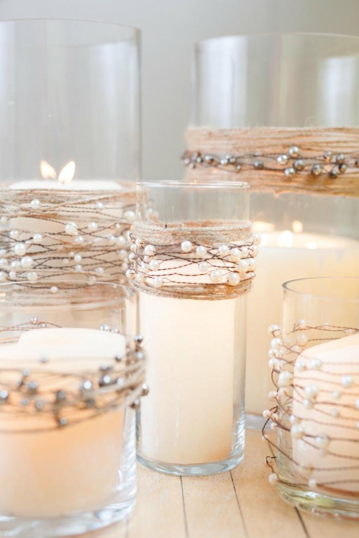 idées-déco-mariage-à-faire-soi-même-deco-de-table-mariage-des-bougies-blanches