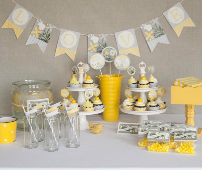 idées-déco-mariage-champêtre-deco-table-mariage-jaune-gateauc