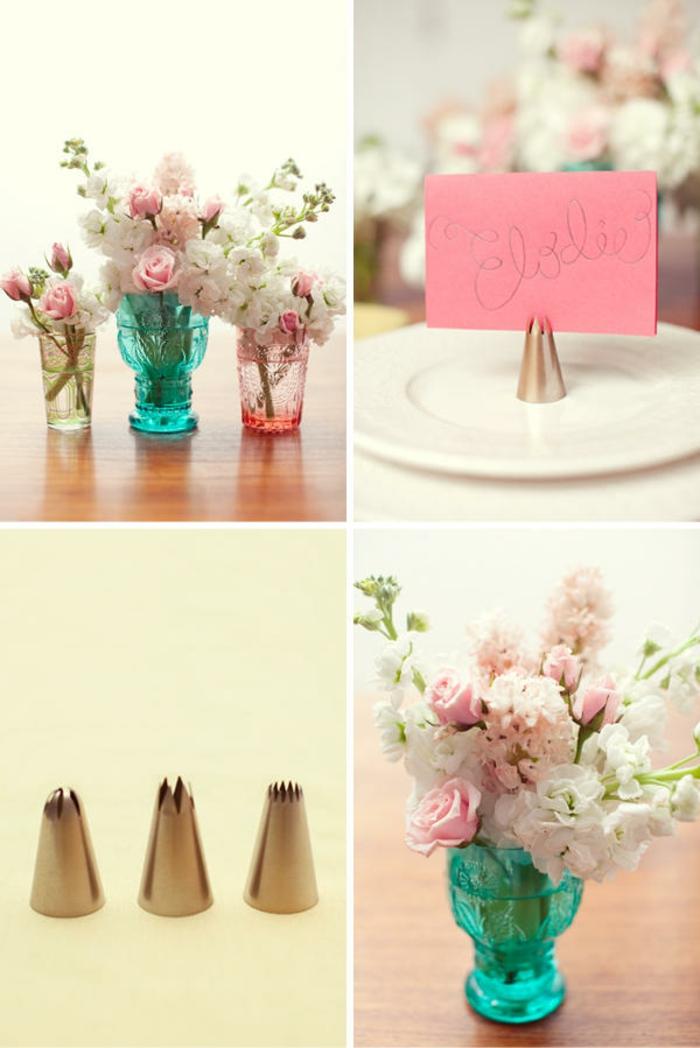 idées-déco-table-mariage-deco-voiture-mariage-à-faire-soi-même-vases-verre-fleur
