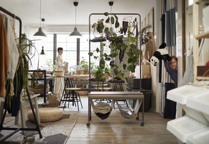 idée de séparation végétale cloison amovible chambre salon mur vegetal interieur original