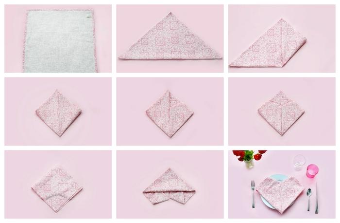 tuto pliage serviette coeur dans serviette de tissu rose et blanc en forme de coeur, decoration de table originale