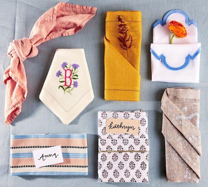 differents exemples de pliage serviette simple, techniques plaige serviette facile a faire pour decorer sa table d une maniere originale