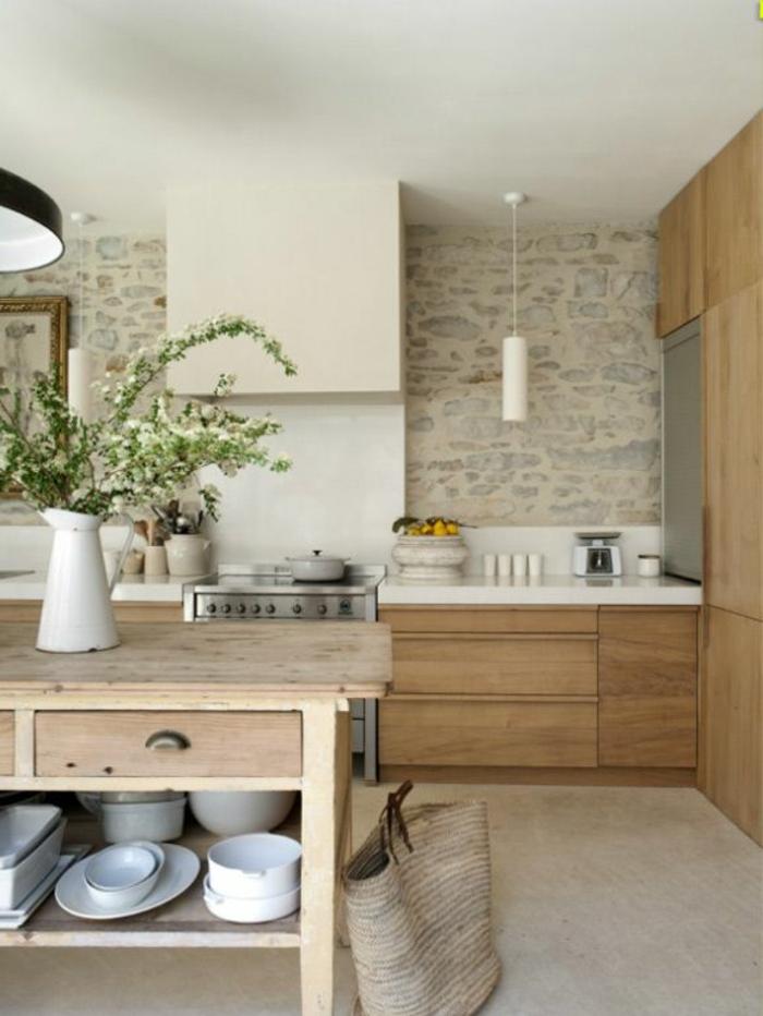 ilot-central-cuisine-pas-cher-îlot-de-cuiisne-en-bois-clair-comment-aménager-une-cuisine