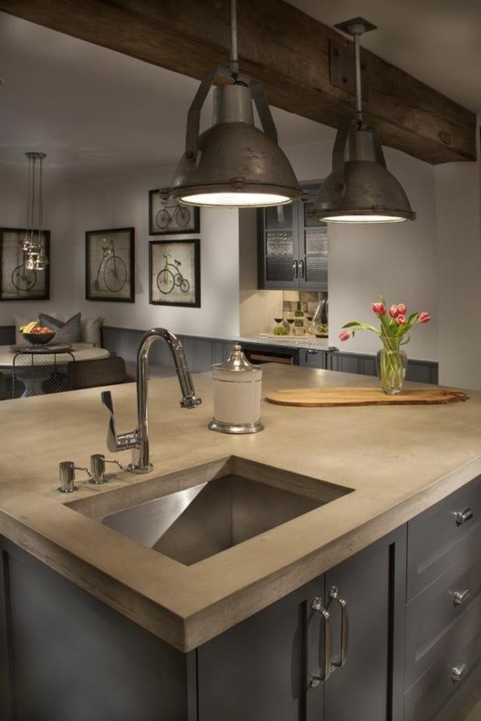 ilot-central-cuisine-pas-cher-îlot-de-cuiisne-en-bois-de-couleur-taupe-cuisine-de-couleur-gris-et-marron
