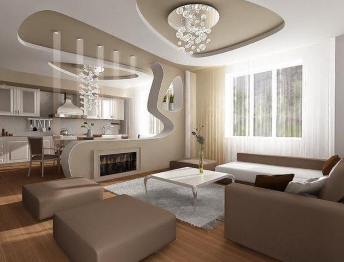 Vous cherchez des id es pour comment faire un faux plafond - Salon taupe et beige ...