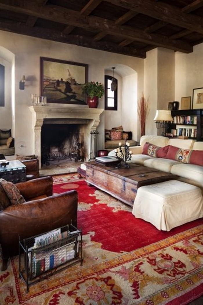 intérieur-de-style-vintage-et-un-joli-tapis-saint-maclou-de-couleur-rouge