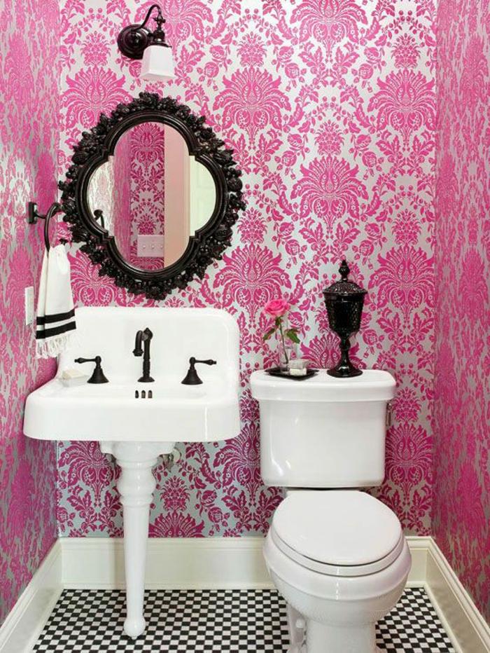 50 photos avec des id es pour poser du papier peint intiss - Salle de bain noir et rose ...