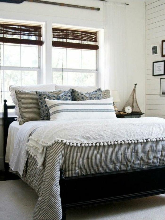 jolie-chambre-parentale-suite-parentale-aménagement-linge-de-lit-gris-coussins-intérieur-blanc