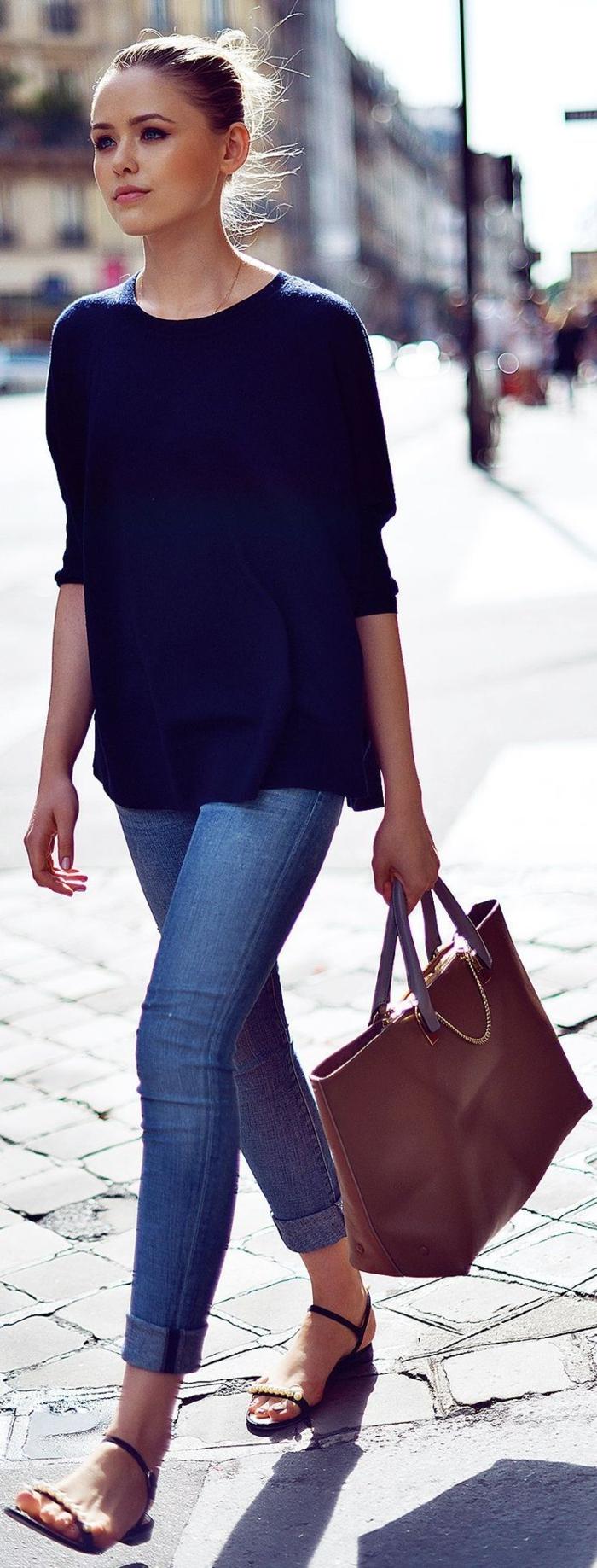 le-style-casuel-chic-tenue-chic-femme-idée-originale-vêtement-stylé-belle-allure