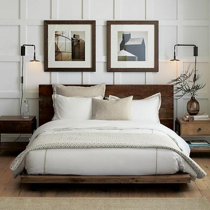 lit-en-bois-massif-lit-en-chene-coussins-de-couleur-taupe-mur-avec-peintures-murales
