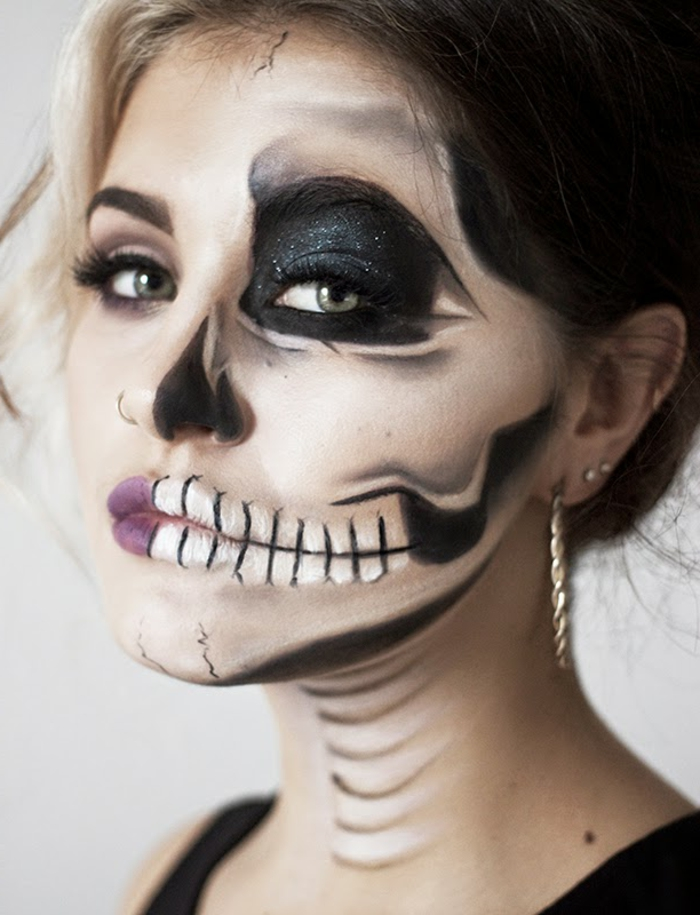 maquillage-halloween-femme-maquillage-zombie-idée-resized