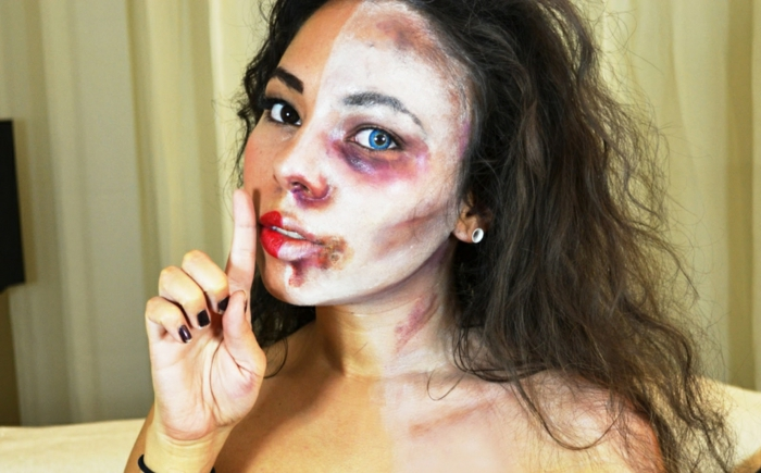 maquillage-halloween-femme-maquillage-zombies-à-demi-resized