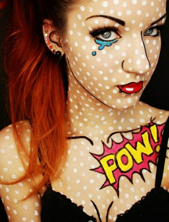 maquillage-halloween-homme-idées-inspiration-2015-pop-art-populaire-cristales-points-pow-bande-dessiné-resized-resized