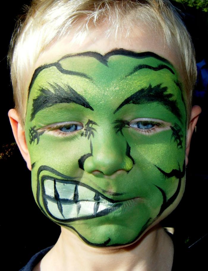 maquillage-halloween-homme-idées-inspiration-2015-pop-art-populaire-vert-enfant-hulk-resized